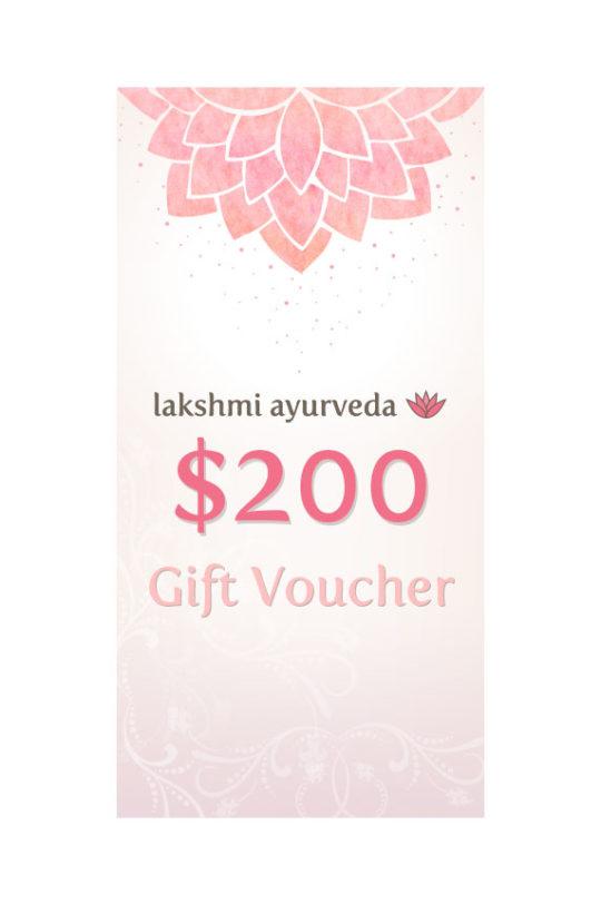 Lakshmi Ayurveda Gift Certificate – $200