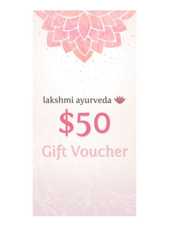 Lakshmi Ayurveda Gift Certificate – $50