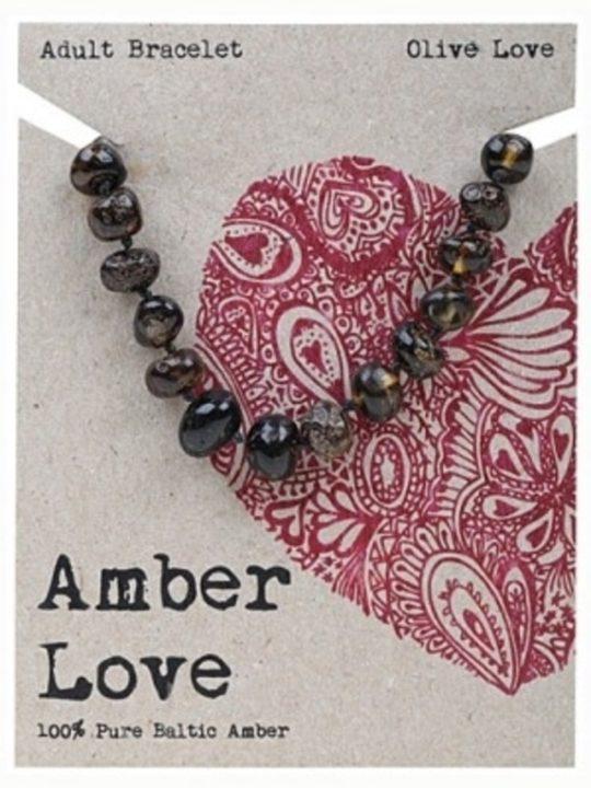 amber love, olive, adult bracelet
